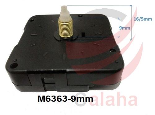 clock motor M6363 9mm - موتور ساعت دیواری پایه بلند روانگرد 9mm