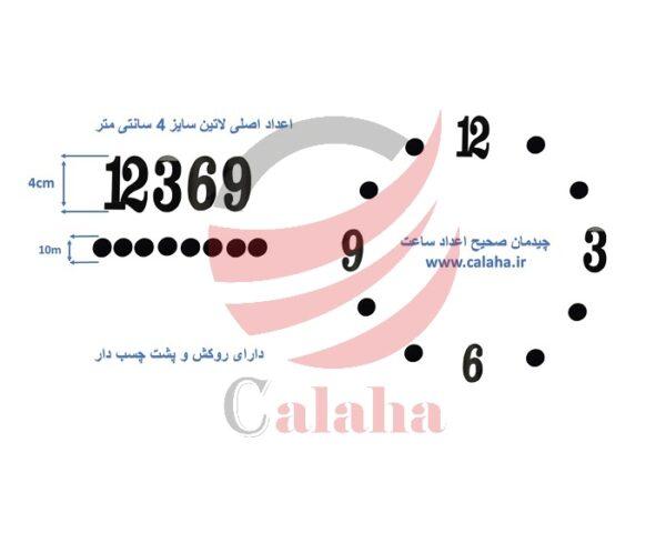 اعداد اصلی ساعت دیواری لاتین مشکی